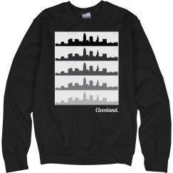 Cleveland skyline repeated
