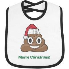 Poop Santa Clause Bib  black trim