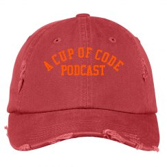 A Cup of Code Podcast Distressed Ballcap Grey & Orange
