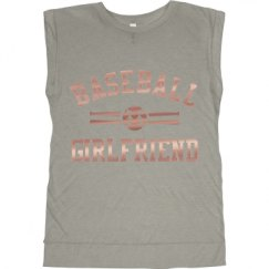 Ladies Flowy Muscle Tee with Rolled Cuffs