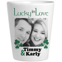 Lucky in Love Personalized Shot Glass