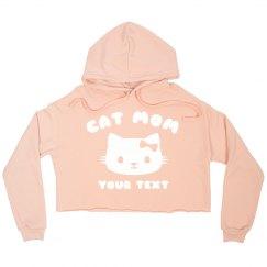 Cat Mom Custom Crop Hoodie