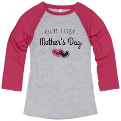 First Mother's Day Hearts Raglan