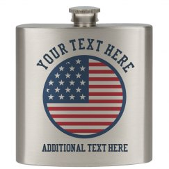 USA Flag Custom Flask July 4th