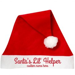 Santa's Lil' Helper Custom Name Santa Hat