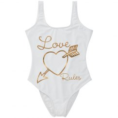 Gold Metallic Open Heart w/Arrow Love Rules