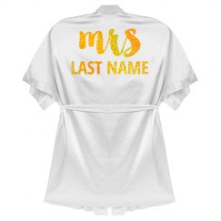 Custom Gold Glitter Mrs Last Name