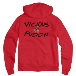 Vicious Puddn Distressed Red Zip Hoodie
