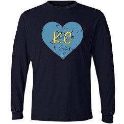 I Heart KC LS - navy/lt blue - ultrasoft - distressed