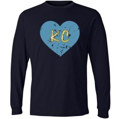 I Heart KC LS - navy/lt blue - ultrasoft - distressed