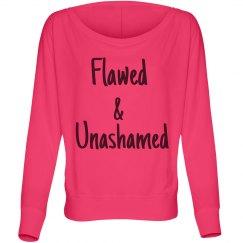Flawed & Unashamed  Off the Shoulder Shirt-Neon Pink
