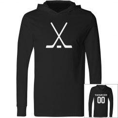Custom Team Name, Number, Hockey Sticks, Hooded Tee