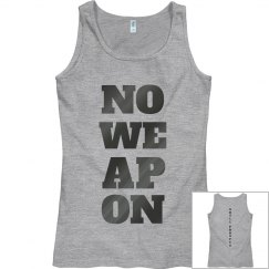 NO WEAPON Shall Prosper Grey Metallic Text Tank Top