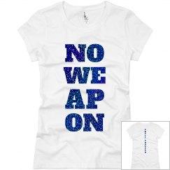 NO WEAPON Shall Prosper Blue Glitter T-Shirt