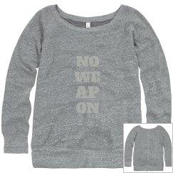 NO WEAPON Shall Prosper Silver Text Wideneck Sweatshirt