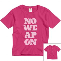 NO WEAPON Shall Prosper Light Pink Text Youth T-Shirt