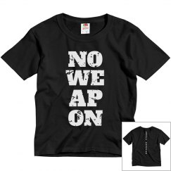 NO WEAPON Shall Prosper White Text Youth T-Shirt