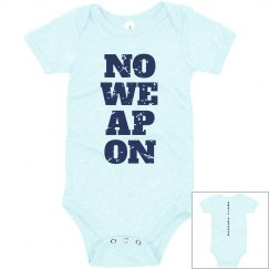 NO WEAPON Shall Prosper Navy Blue Text Infant Bodysuit