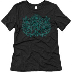 Roses tee turquoise