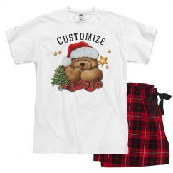 Personalized Santa Bear Unisex Christmas PJ Set