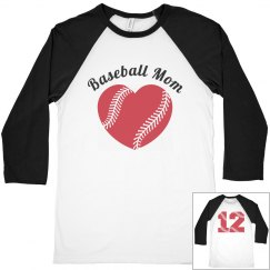 Baseball Mom Heart Number