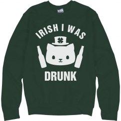Irish I Was Drunk Green Cat