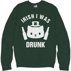 Irish I Was Drunk Green Cat
