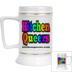 Kitchen Queers Gold Rimmed Rainbow Logo Beer Stein