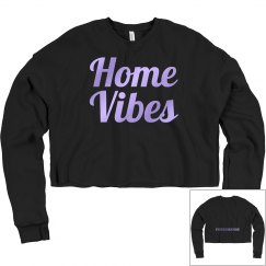 Home vibes crop sweatshirt black