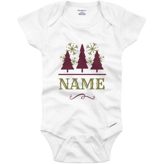 Christmas Tree Onesie.Custom Name Christmas Tree Baby