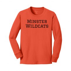 youth minster wildcats long sleeve t