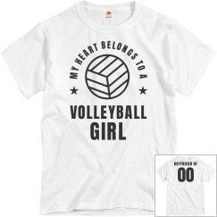My Heart Belongs To A Volleyball Girl Boyfriend Tee