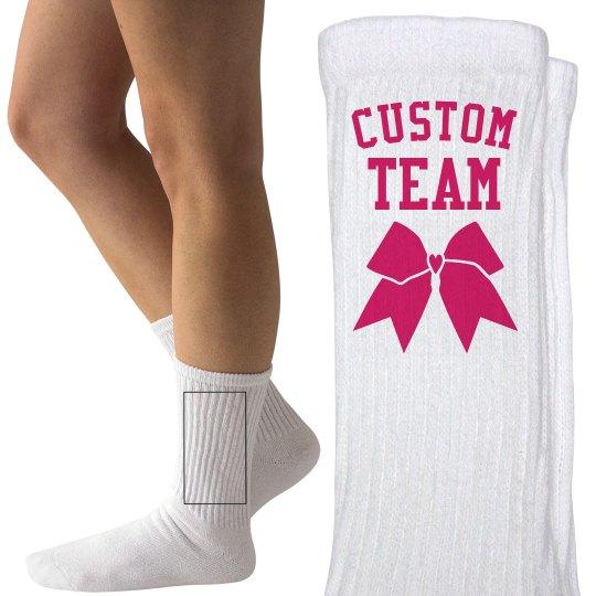292f57eadf86 Custom Team Cheer Socks Ladies Hanes Crew Socks