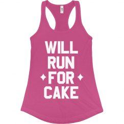 Will Run for Cake Funny Workout Tank