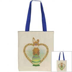 Bunny Sitting on Green Decorative Easter Egg Gold Heart