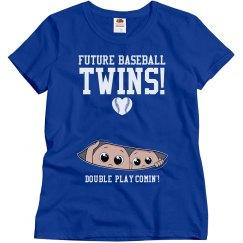 Double Play Baseball Twins Funny Maternity Shirt