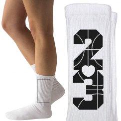 Trendy Basketball Girlfriend or B-Ball Player Socks