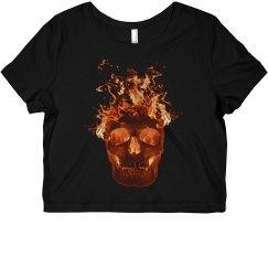 Orange Fire Skull Shirt