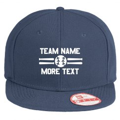 Baseball Team Custom Text Flat Bill