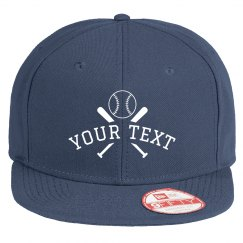 Custom Text Cross Bats Baseball Hat