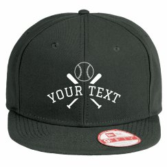 Custom Text Cross Bats Baseball Hat