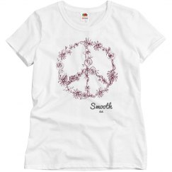 Smooth as Ladies Floral Peace sign Tee