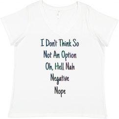 Ways To Say No Black Glitter Text Plus Size T-Shirt