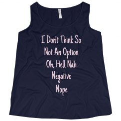 Ways To Say No Pink Text Plus Size Tank Top