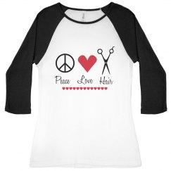 Peace, Love and Hair Raglan Tee