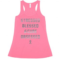 Stressed, Blessed, Cure Obsessed Metallic Crop