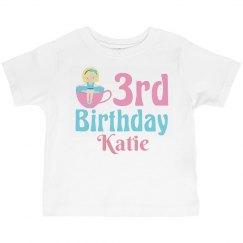 Cute 3rd Birthday Tea Party Girl