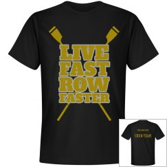 Mens Row Fast T-shirt personalized with name on back