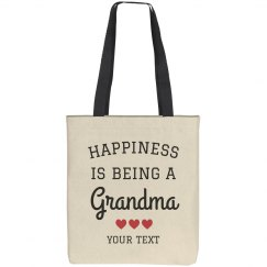 Happiness is Being a Grandma Custom Tote Bag