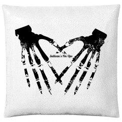 Flip Sequin Skeletal Hands Pillow